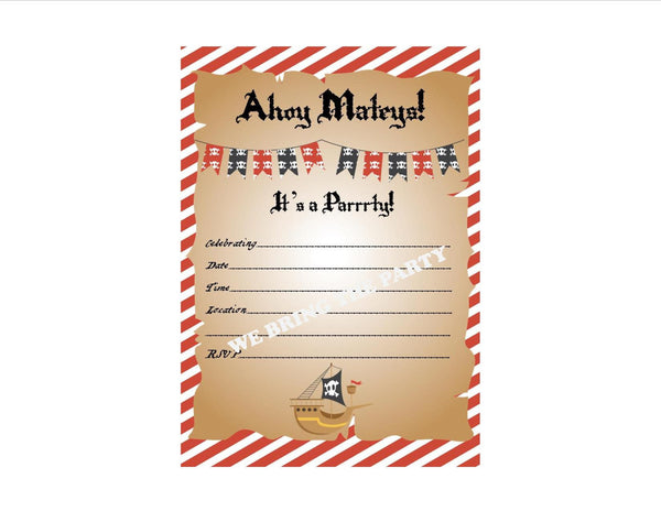 Pirate Party Themed Fill in Invitation, Instant Download, Birthday Party Invite - We Bring the Party
