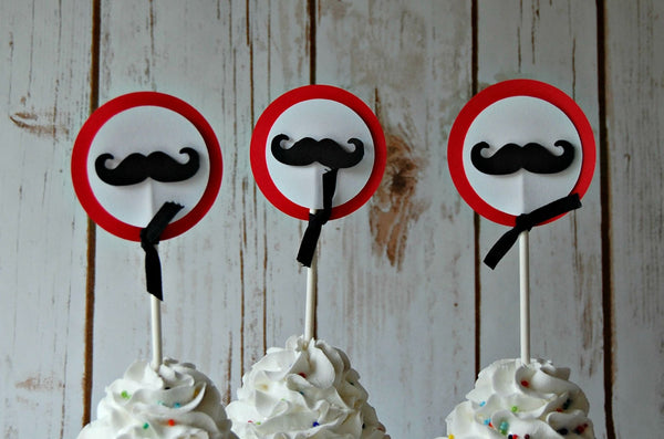 Mustache Themed Birthday Party Cupcake Toppers (set of 12) - We Bring the Party