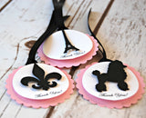 Paris Themed Birthday Party Favor Tags  (set of 12) - We Bring the Party - 1