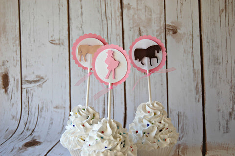 Chic Cowgirl Silhouette Birthday Party Cupcake Toppers (set of 12) - We Bring the Party