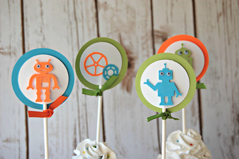 Robot Themed Party Cupcake Toppers (set of 12) - We Bring the Party - 1