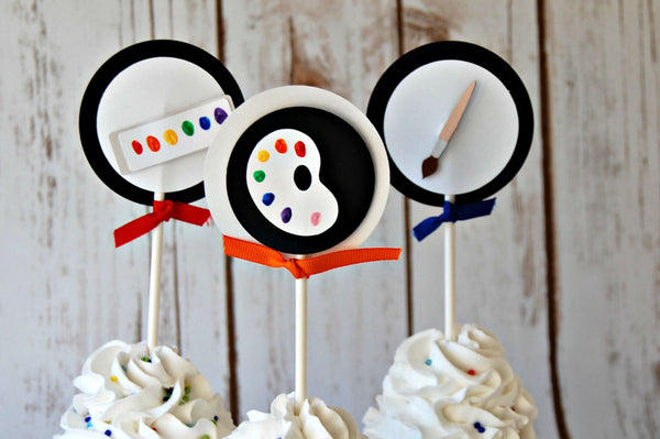 Little Artist Birthday Party Cupcake Toppers (set of 12) - We Bring the Party - 1