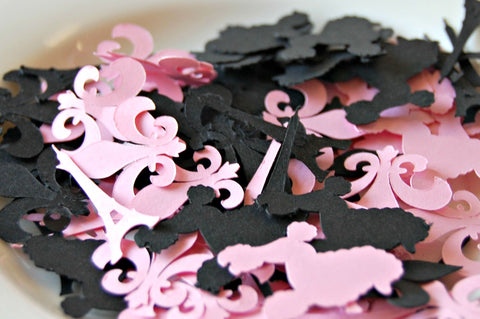 Paris Themed Party Confetti, France Party Die Cuts, Girly Party Cut Outs