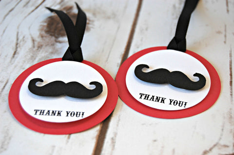 Mustache Themed Birthday Party Favor Tags (set of 12) - We Bring the Party