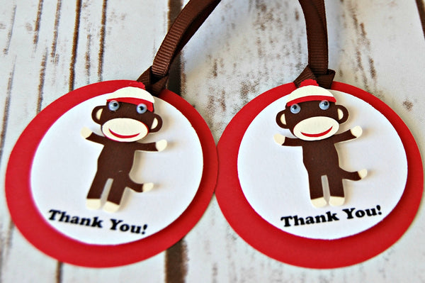 Sock Monkey Party Favor Tags (set of 12) - We Bring the Party