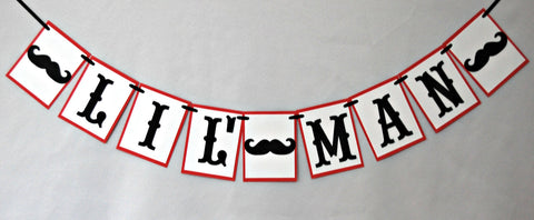 Mustache Themed Party Lil' Man Banner - We Bring the Party