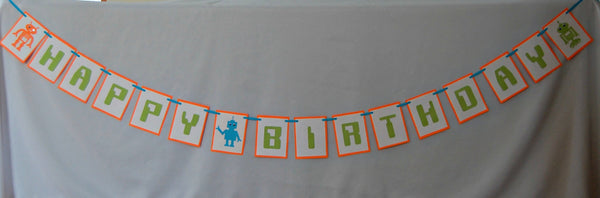Robot Themed Party Birthday Banner - We Bring the Party - 1