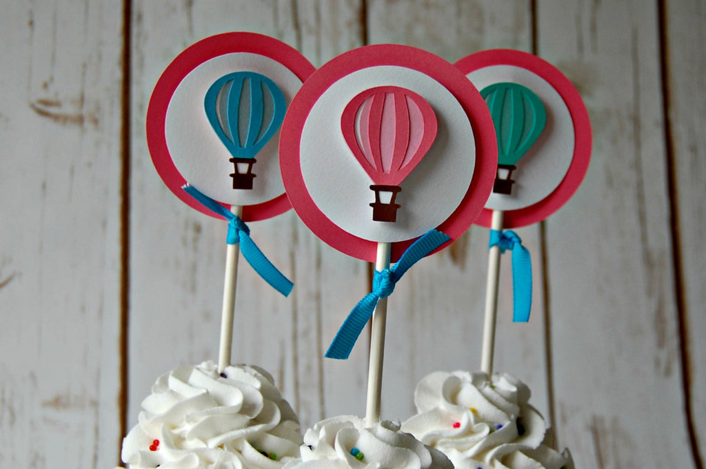 Hot Air Balloon Themed Birthday Party Cupcake Toppers Set Of 12