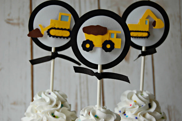 Construction Themed Birthday Party Cupcake Toppers (set of 12) - We Bring the Party - 1