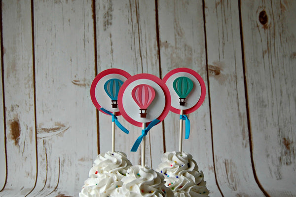 Hot Air Balloon Themed Birthday Party Cupcake Toppers (set of 12) - We Bring the Party - 1