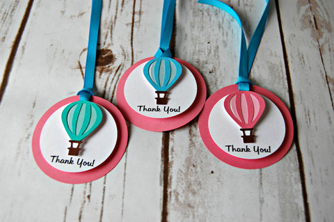 Hot Air Balloon Themed Birthday Party Favor Tags - Up & Away Party Decorations (set of 12)
