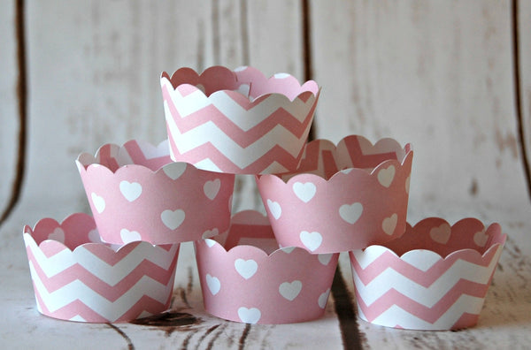MINI Cupcake Wrappers, Pink Chevron Cupcake Wrappers, Reversible Cake Wraps, Cupcake Decoration (set of 12)