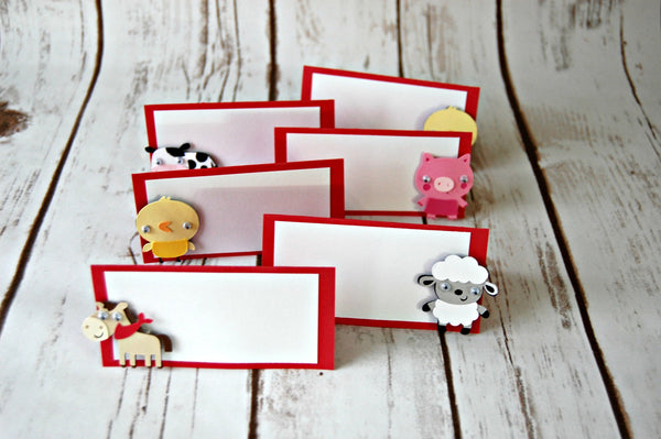 Farm Themed Birthday Party Name Tags- Barnyard Party Decorations (set of 6)