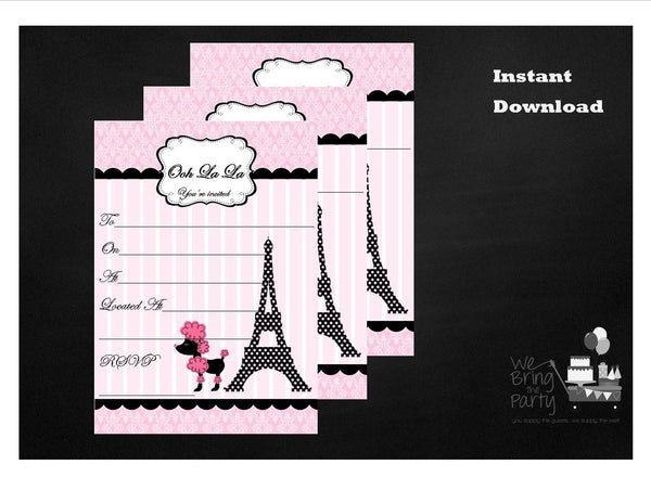 Paris Party Themed Fill in Invitation, Instant Download - We Bring the Party