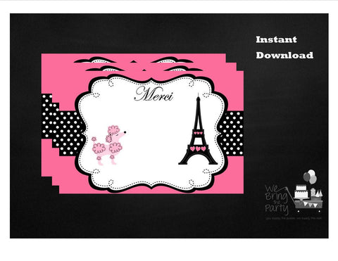 Paris Party Themed Thank You Note, Instant Download - We Bring the Party