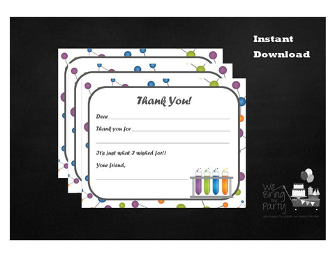 Science Party Themed Fill In Thank You Note, Instant Download - We Bring the Party