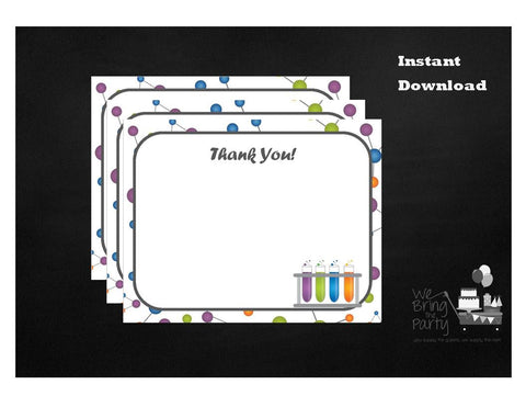 Science Party Themed Thank You Note, Instant Download - We Bring the Party