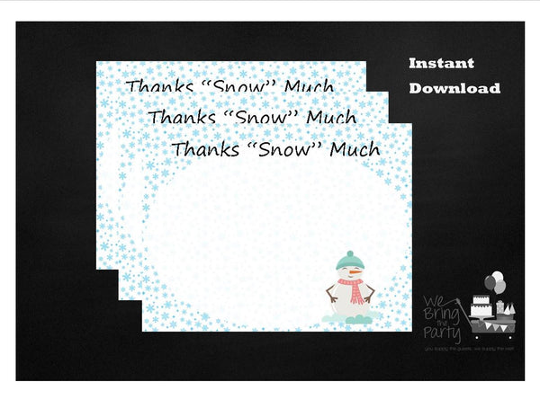 Snowflake Party Themed Thank You Note, Instant Download - We Bring the Party