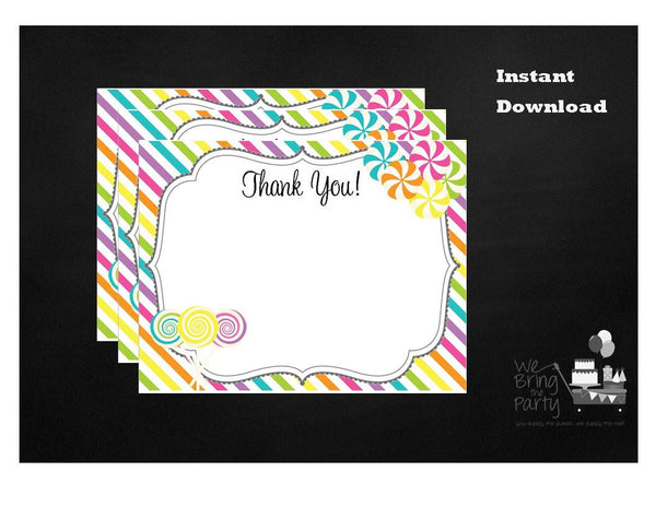 Candy Party Themed Thank You Note, Instant Download - We Bring the Party