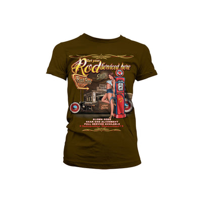 Get Your Rod Service Here Womens T-Shirt