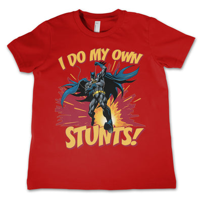 Batman- I Do My Own Stunts Unisex Kids T-Shirt (Red)