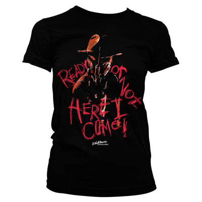 A Nightmare On Elm Street- Here I Come Womens T-Shirt (Black)