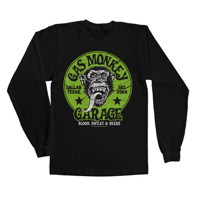 Gas Monkey Garage- Green Logo Long Sleeve T-Shirt (Black)