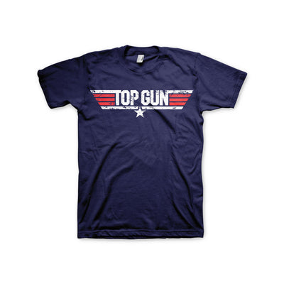 Top Gun Distressed Logo Mens T-Shirt (Navy)