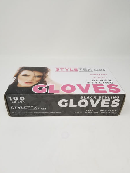 Lucas International StyleTek -  Black Salon Gloves-Disposable Vinyl salon glove 100/box