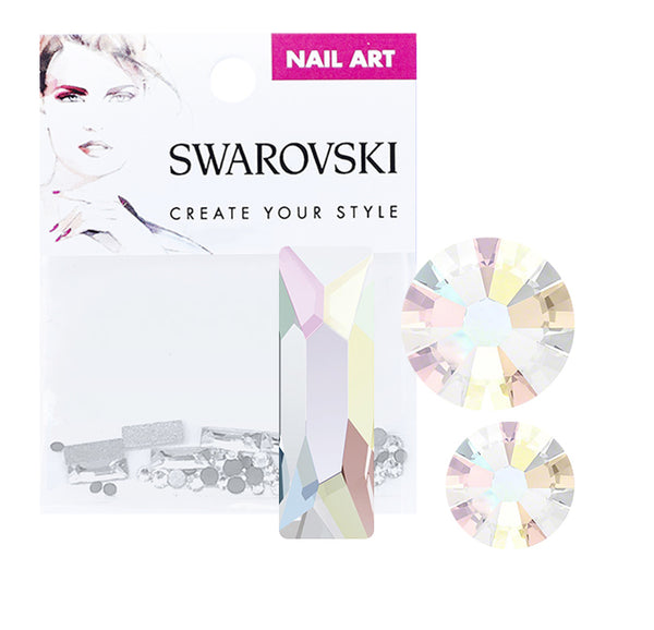 Swarovski Crystals For Nails 2555 Cosmic Baguette Crystal AB Mix