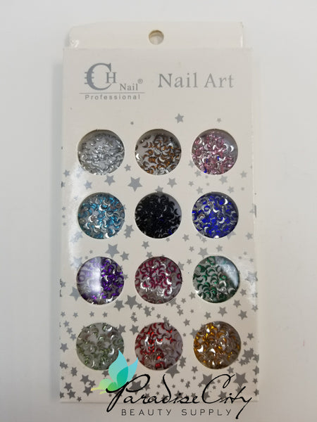 CH #06 Nail Art Assorted Colors Crescent Moon Rhinestones