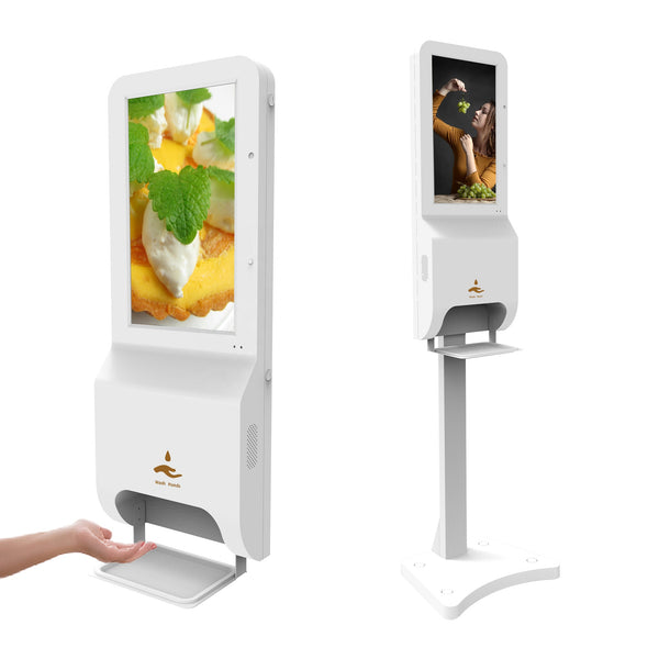 Hand Sanitizer Dispenser with LCD Digital Signage & Body Temperature Reading