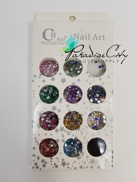 CH #26 Nail Art Assorted Colors Heart Rhinestones