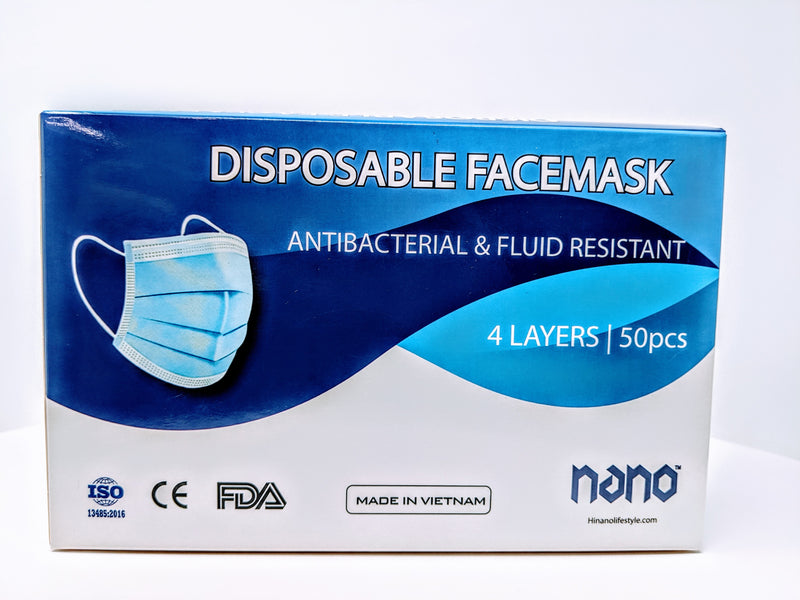 Nano - Fluid Resistant Disposable 4ply Face Mask