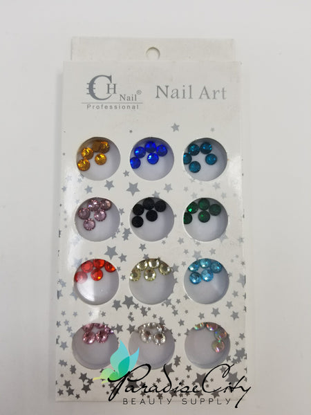 CH #13 Nail Art Assorted Colors Round Rhinestones 14