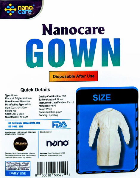 Nanocare Isolation Gown with Cuff Level 1