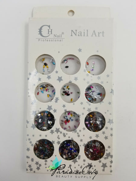 CH #18 Nail Art Assorted Colors Pointed Oval Rhinestones