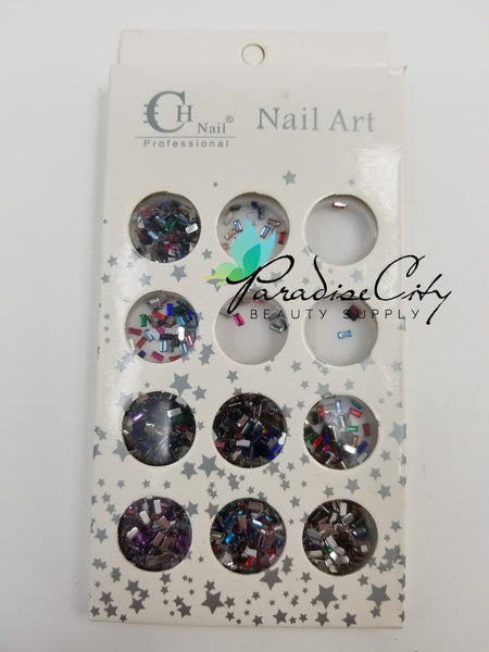 CH #15 Nail Art Assorted Colors Rectangle Rhinestones