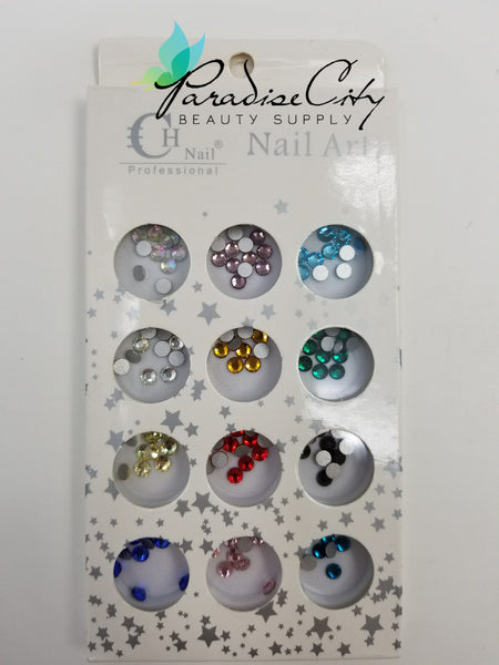 CH #24 Nail Art Assorted Colors Round Rhinestones 12