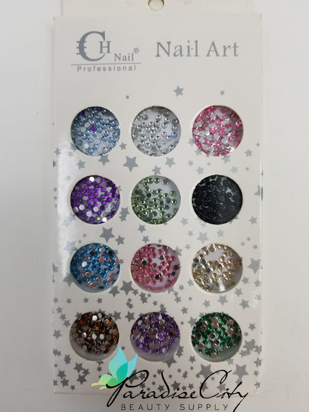 CH #21 Nail Art Assorted Colors Round Rhinestones 8