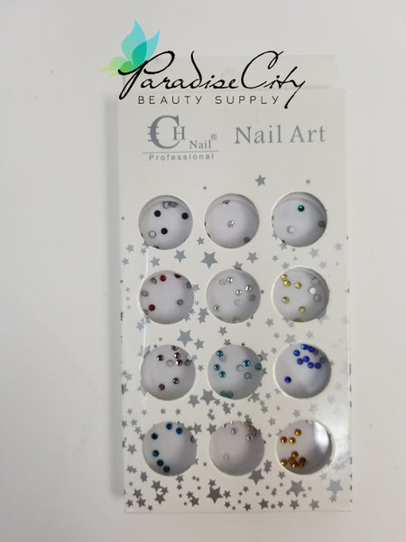 CH #28 Nail Art Assorted Colors Round Rhinestones 9