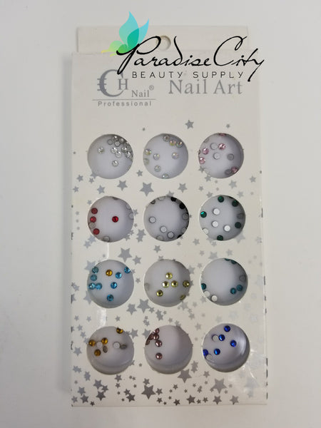 CH #27 Nail Art Assorted Colors Round Rhinestones 8 Smaller Pack