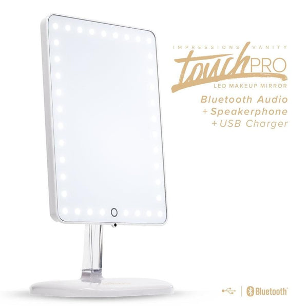 Impressions Touch Pro LED Makeup Mirror w/ Bluetooth Audio + Speakerphone & USB Charger