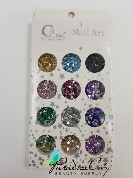 CH #16 Nail Art Assorted Colors Triangle Rhinestones