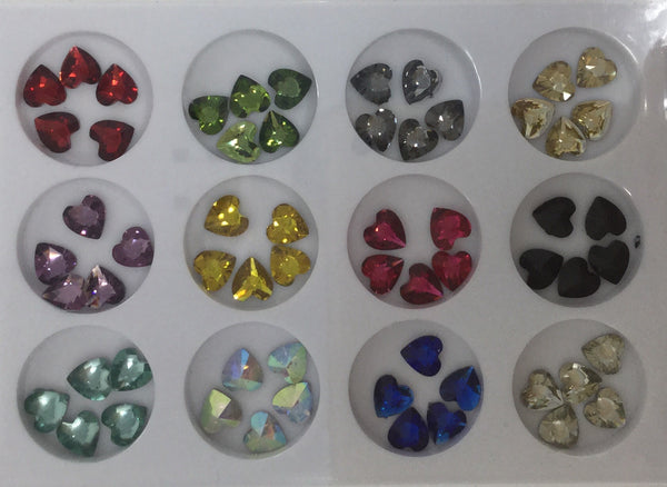 CH #31 Nail Art Assorted Colors Heart Rhinestones