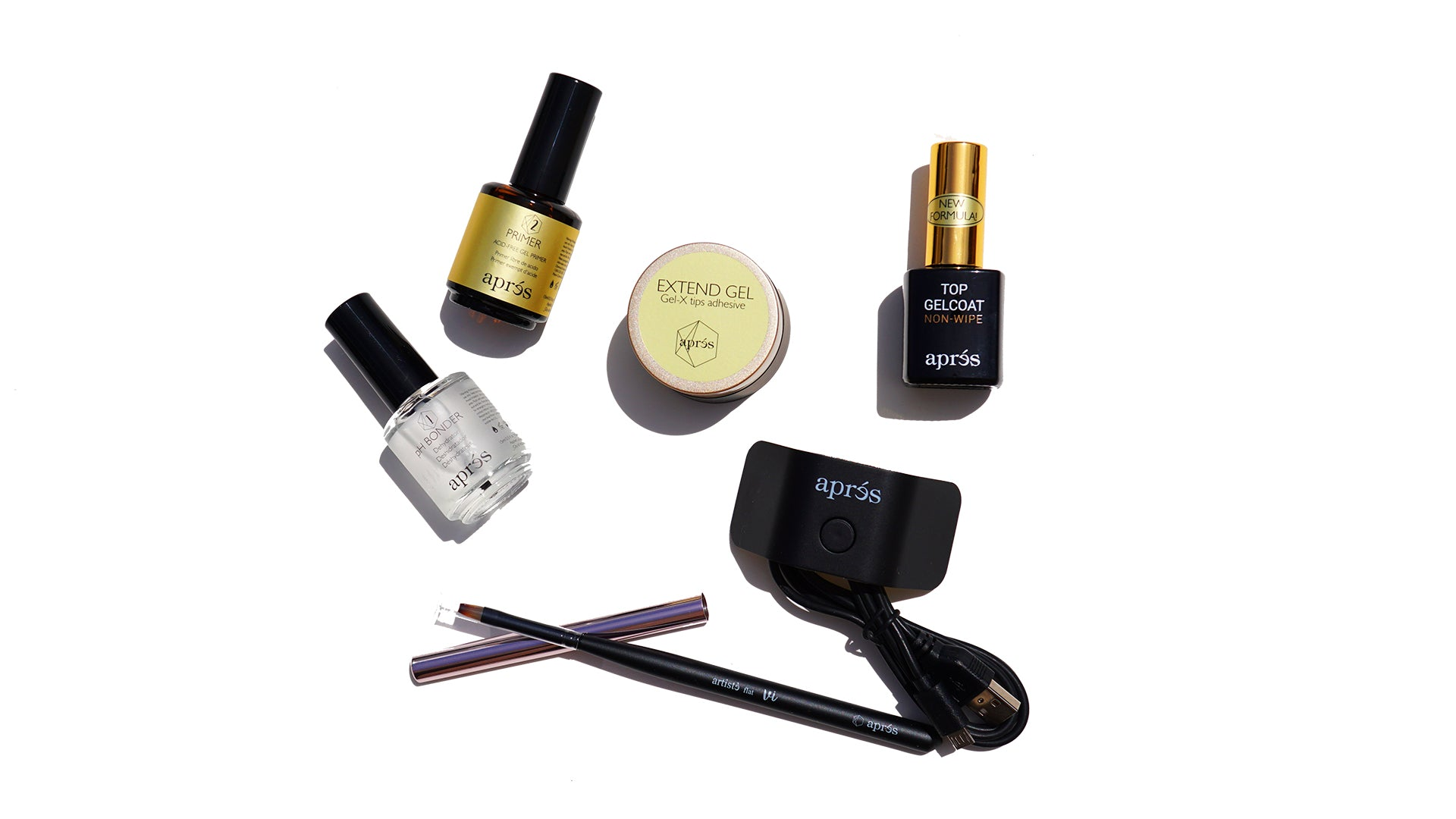 Apres Gel,X Nail Extension System Essentials Only w/ Flat Brush 6