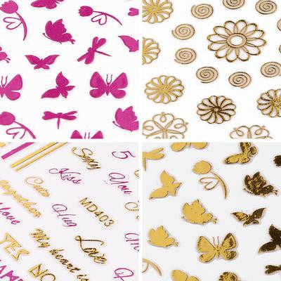 BMC Pink + Gold Spring Themed Metallic Foil Nail Art Stickers
