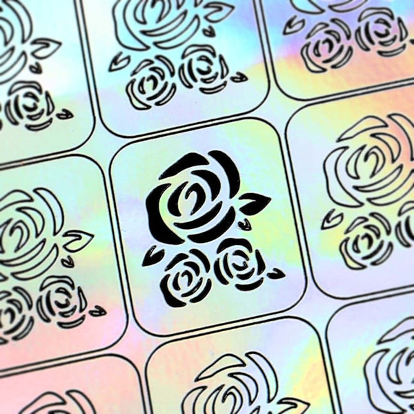BMC Holographic Nail Art Vinyl Decal Guides - Flower Collection - Rose Blooms