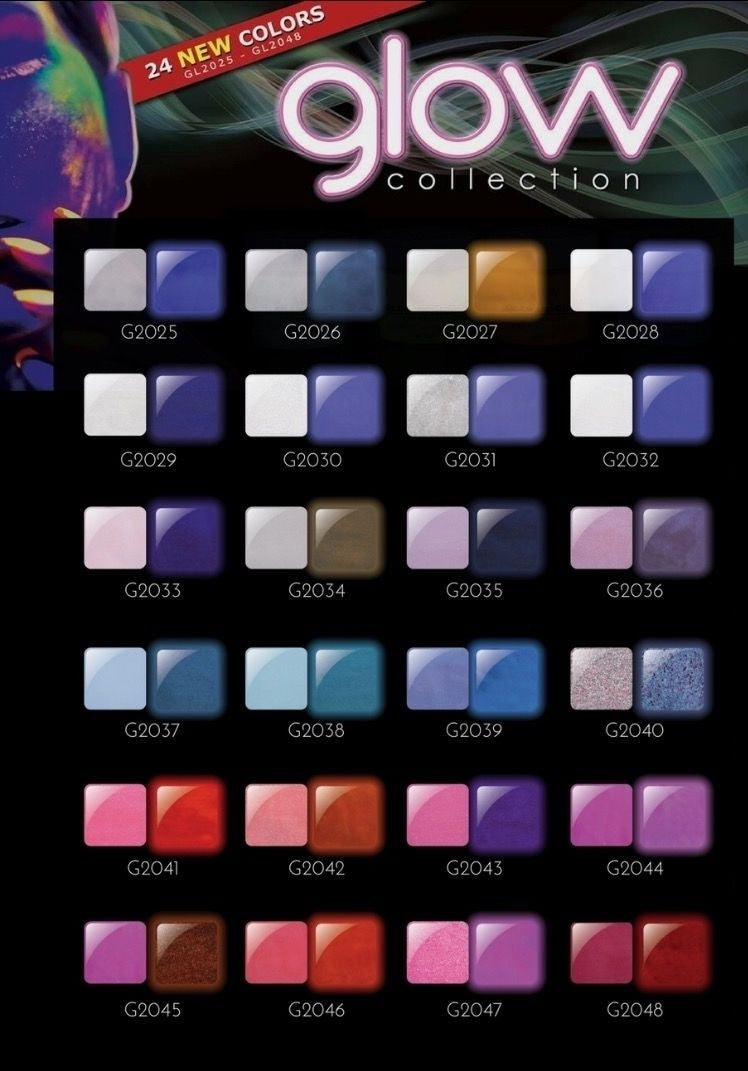 "Glam & Glits Glow Acrylic - GL2025 - GL2048 - 24 NEW COLOR GLOW ACRYLIC COLLECTION * GL2025 - GL2048 * ""Free Shipping"""