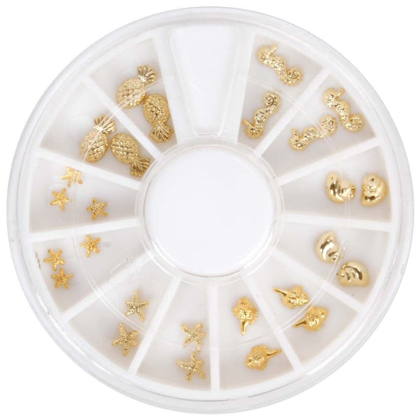 BMC 26pc Gold Color Ocean Sea Life 3D Nail Art Studs - Shells Starfish Seahorse